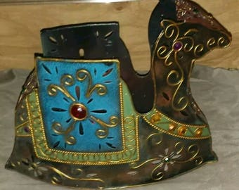 Metal Camel Candle Luminary~Partlylite~Tea light or Votive Candles