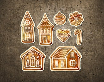 """Printed Chipboard Shapes #007 """"GingerBread Collection"""""""