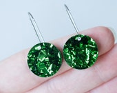 Moon small dangle / drop earrings   Green glitter   Laser cut acrylic   Handmade