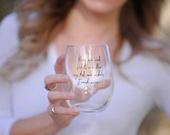 My kids are a**holes- stemless wine glass for parents