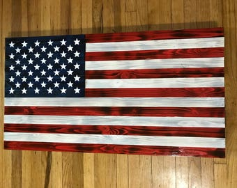 Handmade Wood American Flag, thin blue line, thin red line