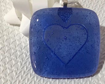 Embossed Fused Glass Gift Tag - Blue