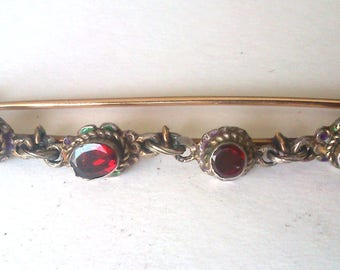 Antique Georgian 9ct Yellow Gold & Silver Estate Garnet Pin Brooch