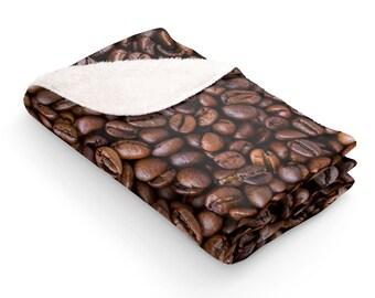 Sherpa Fleece  Blanket  Coffee Bean Lover