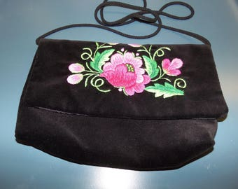 Black Velvet Embroidered Purse