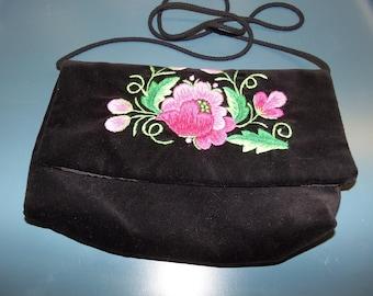 Black Velvet Embroidered Purse