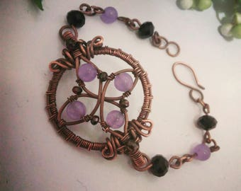 Antique copper bracelet with amethyst and crystal