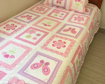 Girls patchwork quilt coverlet size single king/single 100% cotton brand new