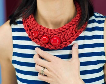 Crochet pattern necklace red rope jewelry PDF pattern tutorial red bead bib DIY crochet jewelry chunky collar women knitting instruction