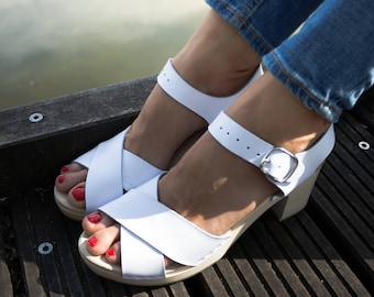 New wooden sandals women sandals leather sandals swedish clogs white shoes