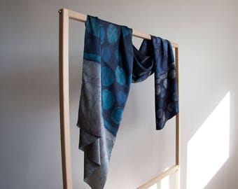 Batik scarf  on silk: DEEP BLUE