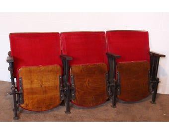 A Row of 3 Vintage Art Deco C1930s Red Velvet Cinema Seats REF134