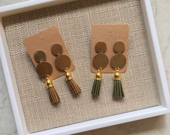 Brass Gold Double Circle Brown Green Dangle Drop Chandelier Tassel Earrings