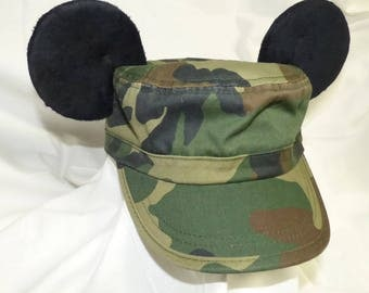 Camo Cadet hat with Mickey ears