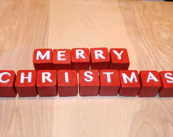 Merry Christmas mantle blocks