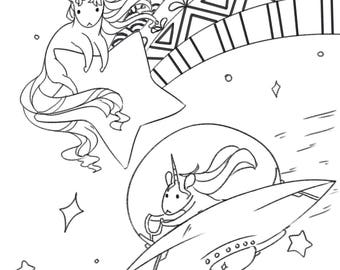 Colouring page - unicorn space race