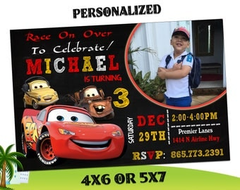 Cars Birthday Invitations, Cars Invitation, Lightening McQueen Invitation, Lightening McQueen Birthday Invitation, Cars Invites R-46
