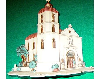 Burwood Adobe Style Rancho and Church with Tower, Wall or Shelf Decor, 3-Dimensional, Numbered 3291-2A & 1A