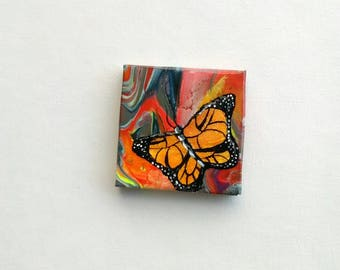 Butterfly Mini Painting | Canvas Painting | Small Painting | Abstract Painting | Acrylic Pour | Mini Paintings | Mini Abstract Art | Art