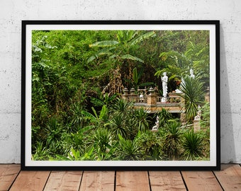 Jungle Temple Photo // Thailand Travel Photography Print, Buddhist Temple Wall Art, Asian Home Decor, Mountain Temple, Green Jungle Art
