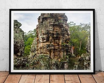 Bayon Temple Photo // Cambodia Print, Asia Fine Art Photography, Buddhist Temple Wall Art, Southeast Asia, Buddhism Wall Decor, Asian Art