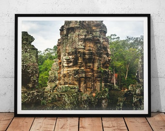 Bayon Temple Photo // Cambodia Print, Asia Fine Art Photography, Buddhist Temple Wall Art, Southeast Asia, Buddhism Wall Decor, Asian Art