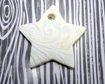 Light Blue Filigree Star Ornament | Handmade Salt Dough Christmas Ornament | Handmade Holiday Ornament | Clay Star Christmas Gift Tag
