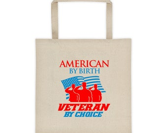 American by Birth Veteran by Choice Liberty Bags 8503 12 Ounce Cotton Canvas Tote
