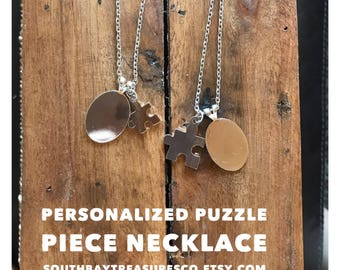 Personalized Puzzle Piece Set of Two Necklaces