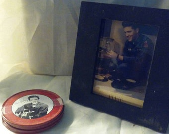 Vintage Elvis Presley, King of Rock and Roll Picture and Coaster set, Free Shipping