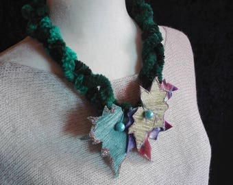 "Necklace ""Nina"" from the collection ""Russia"" created by Midú (designer jewelry Textiles) chenille and velvet fabric."