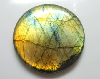 Labradorite   Round Cabochon, 1 pec,  Size- 55x55x7 MM, Multi Flashy , AAA,  Loose Gemstone, Smooth Cabochons.
