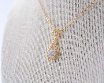 Ella Cubic Zirconia Necklace, Gold CZ Necklace, Bridal Necklace, Wedding Necklace, Crystal Gold Necklace, Dainty Teardrop Necklace, Gold