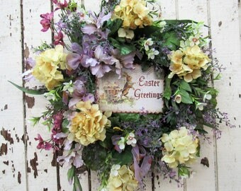 Easter Greetings Spring Wreath with Dusty Lavender,  Pale Gold Hydrangea, Cream Phlox, Lavender Gladiola, Rose delphinium