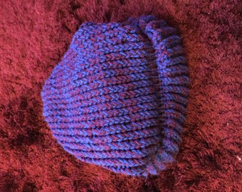 Slouchy Purple & Blue Beany Hat