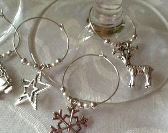 8 Christmas Wine Glass Charms, stocking filler, secret santa