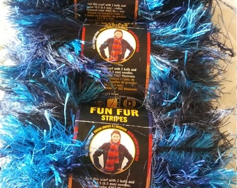 "Fun-Fur Lion Brand Yarn ""Stripes"" X3"