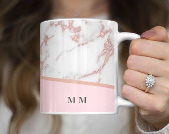 Personalised Rose Gold Marble Initials Custom Letters Heat Resistant White Ceramic 11 oz Coffee Tea Mug | C256