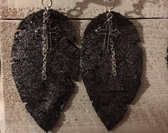 Midnight Shimmer Leather with Cross Leather Feather Earrings
