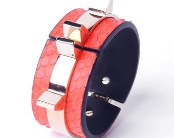 Python leather bracelet, brass gold plated