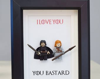 Game of Thrones, Lego, Lego frames, Jon Snow, Ygritte, valentine, gift for him, anniversary, birthday, anniversary inspired by LEGO