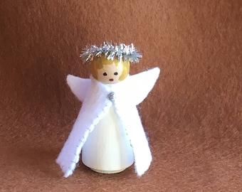 Peg-doll, handmade doll, minuture doll, wooden doll, Christmas ornament, Christmas decoration, Christmas stocking