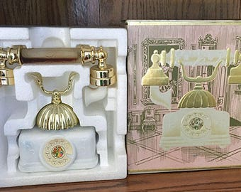 Vintage AVON French Telephone Moonwind Perfume & Foaming Bath Oil Perfume Glass