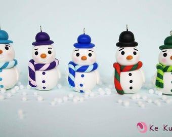 Snowman Ornament for Christmas tree Fimo/Snowman Christmas Tree Decoration