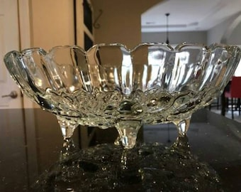 Clear Indiana footed fruit bowl.