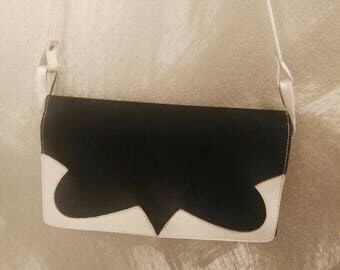 Black white leather Art deco shoulder Bag