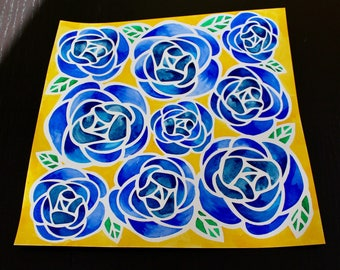 Blue Rose Watercolor Painting