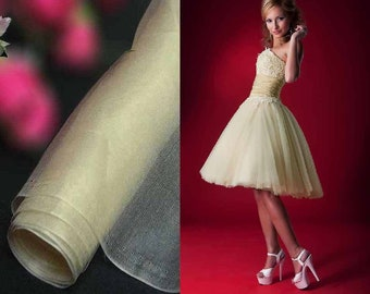 Pure Silk Organza Fabric Dark Ivory for Wedding Bridal Dress (za 45DD X Yards /Meter or samples) love3388 love3388