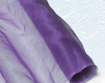 Medium purple 100% Real Silk Organza Fabric Natural Silk Material for Wedding Bridal Dress (za-55 Yards /Meter or samples)