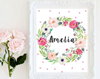 Custom Name Baby Girl Names Personalized Print Beautiful Floral Wreath Children's Room Decor Baby Shower Gifts Nursery Decor